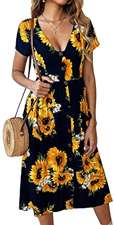 Keasmto Sunflower Dresses for Women Plus Size Navy Blue and ...