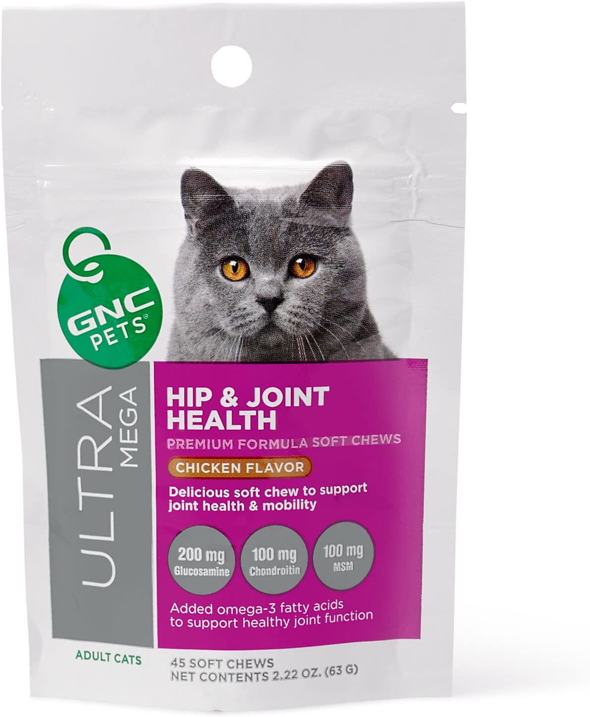 Hip & Joint Health Premium Soft Chews For Adult Cats - 45 count Yummy Chicken Flavor