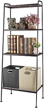 3S Ladder Bookcase,Shelves Storage Organizer Rack 4 Shelf