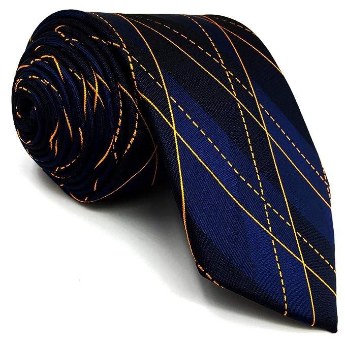 S&W SHLAX&WING Corbatas Para Hombre Azul Naranja Geométrico Seda ...