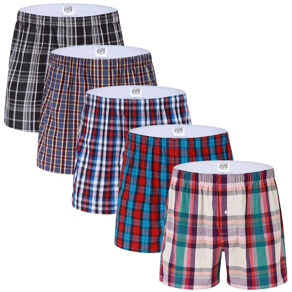 SLJ Men's Underwear 5 Pack Cotton Classics Woven Boxers