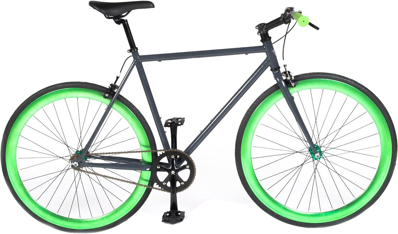 Vilano Rampage Fixed Gear Fixie Sola Velocidad Bicicleta de Carretera (montados,), Gris y Verde: Amazon.es: Deportes y aire libre