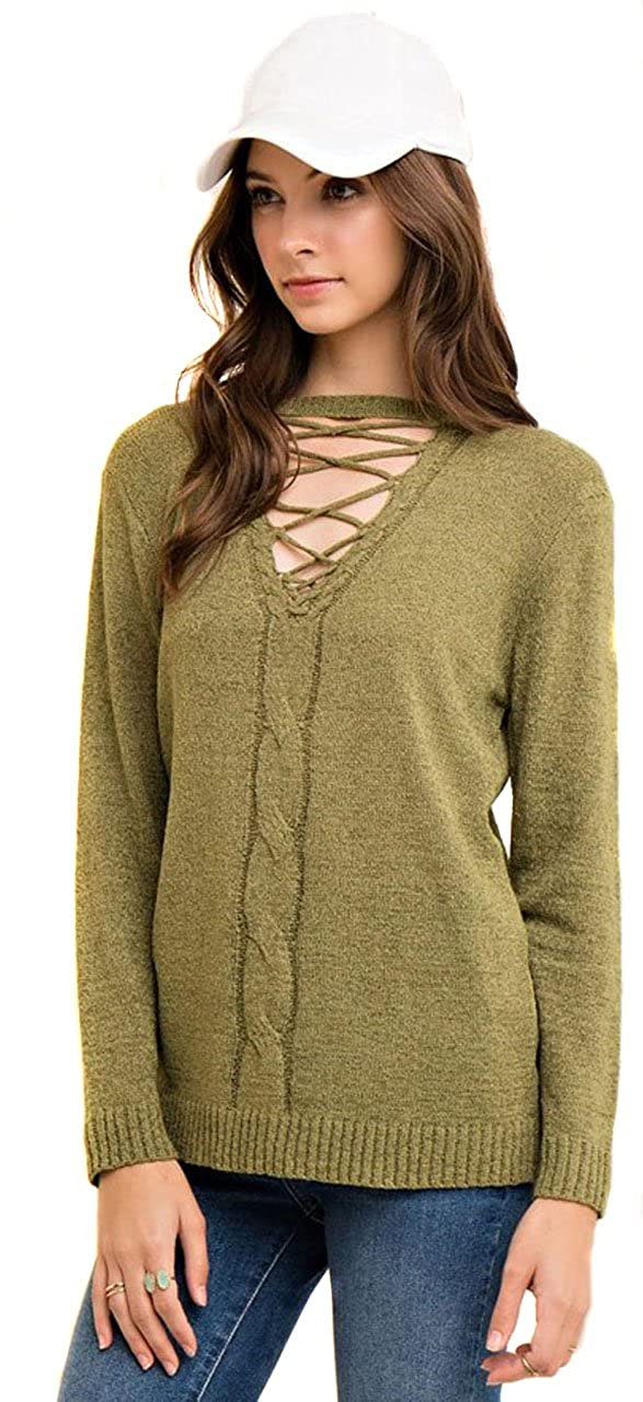 ENTRO Women s Olive Green Long Sleeve Knit Pull Over Cutout Lace Up Sweater  Blouse Top at Amazon Women s Clothing store  a8ec8787f