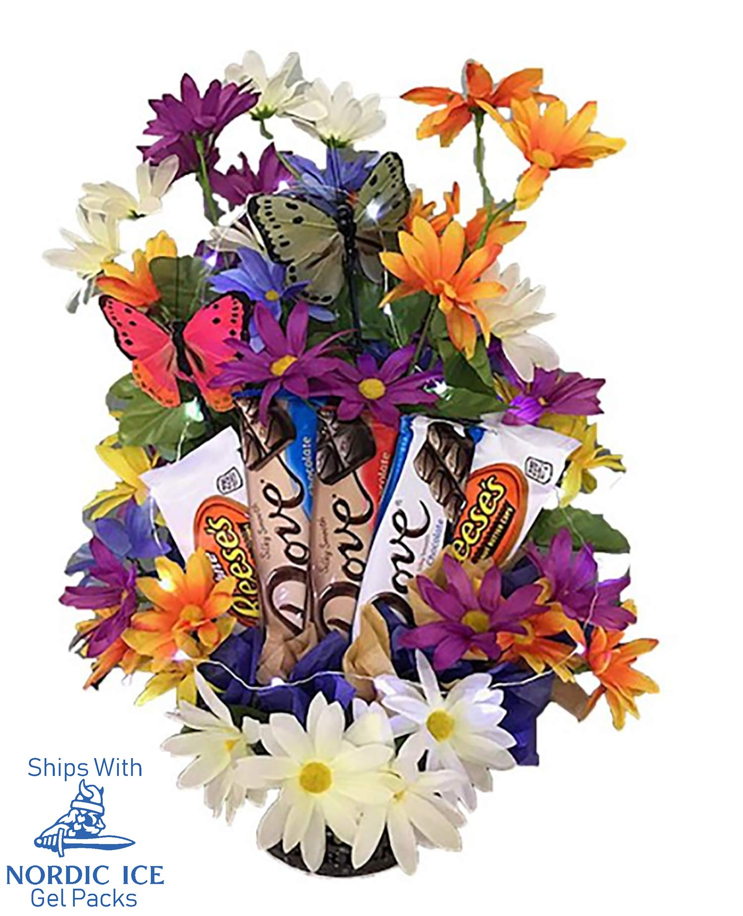 Online 24/7 LLC Unique Chocolate Candy Bouquet with Beautiful Artificial Flowers, Butterflies, Fairy Lights and Reusable Garden Pail.