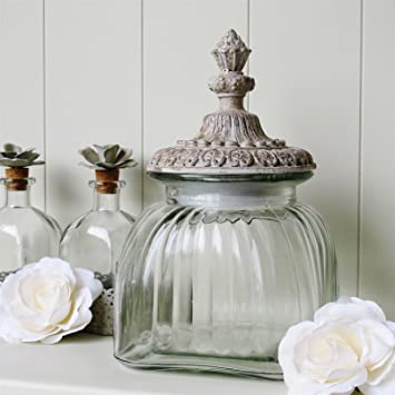 Large Glass Lidded Storage Jar Ideal In A Bathroom , Bedroom, Great As A  Sweetie