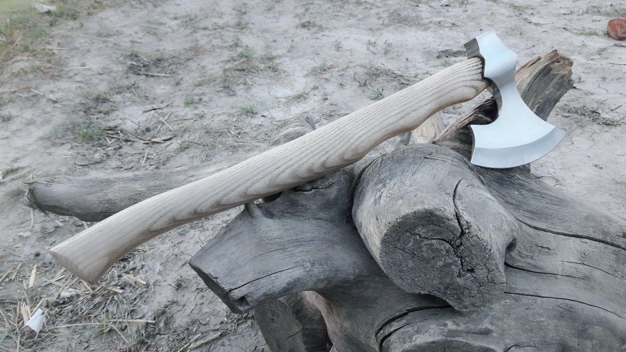 MDM CUSTOM HAND MADE TOMAHAWK VIKING HATCHET BEARED WITH ASH WOOD HANDLE - RAZOR SHARP by MDM (Image #6)