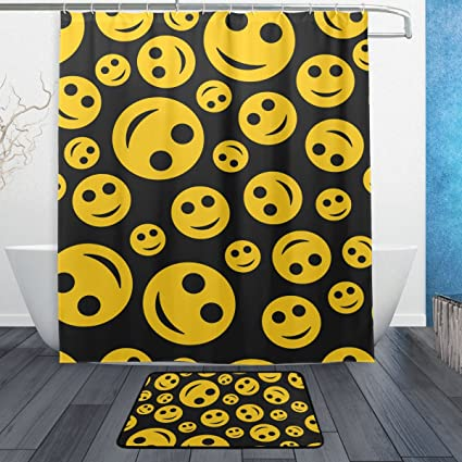 Amazon Com Baihuishop Emoji White Background 3 Piece Bathroom Set