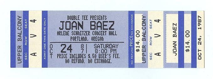 Joan Baez Ticket Oct Arlene Schnitzer Concert Hall Portland - Arlene schnitzer tickets