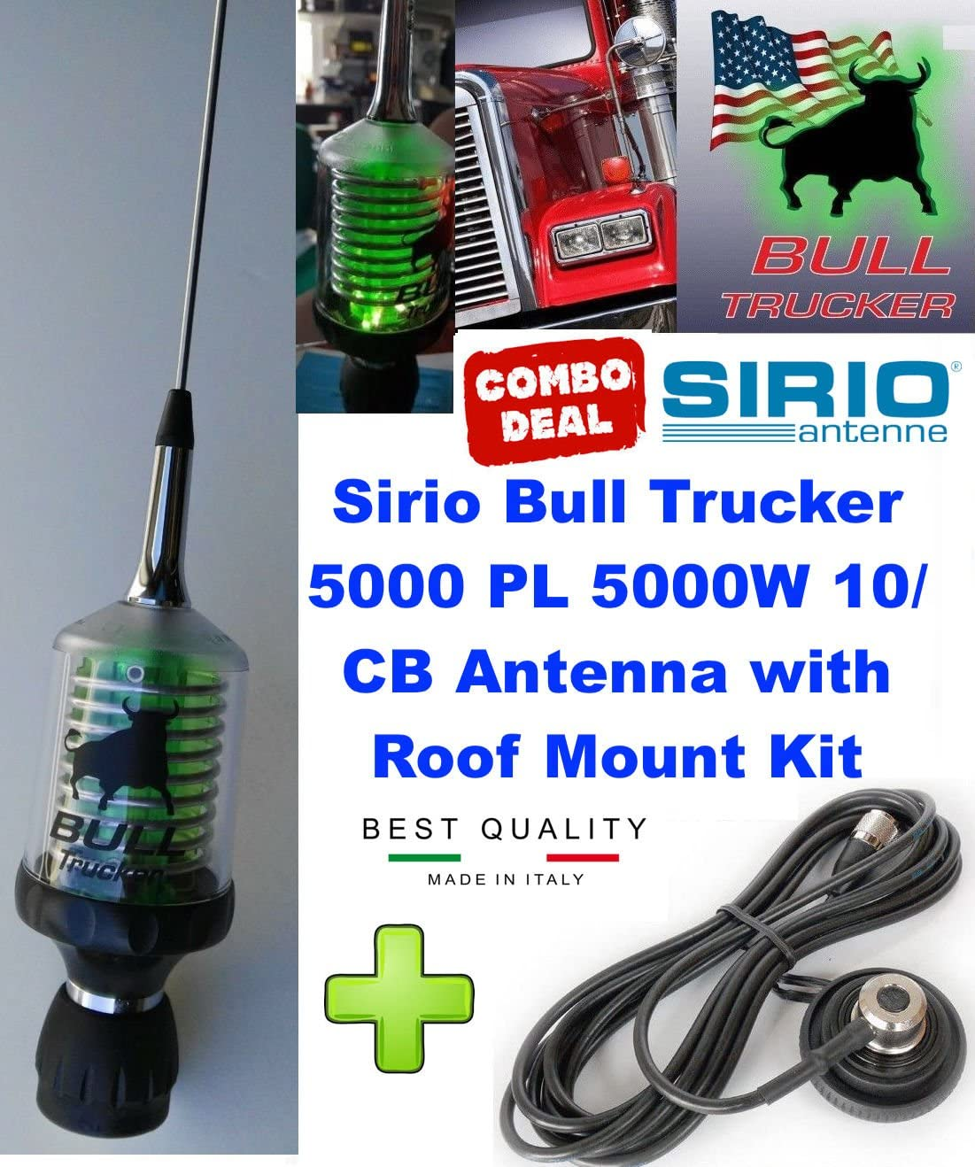 Amazon.com: Sirio Bull Trucker 5000 PL 5000W CB & 10M Green LED Mobile  Antenna Roof Mount Kit: Home Audio & Theater