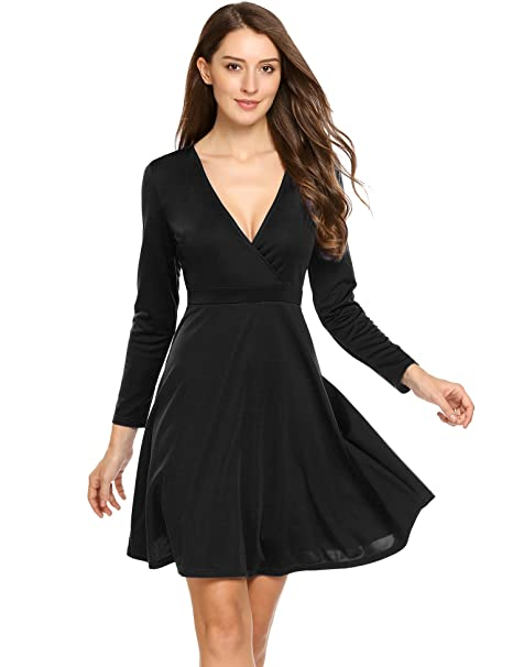 Image Unavailable. Image not available for. Color  ANGVNS Women s Deep-V  Neck Long Sleeve Above Knee Cocktail Wrap Dress Black Small a04dc9237