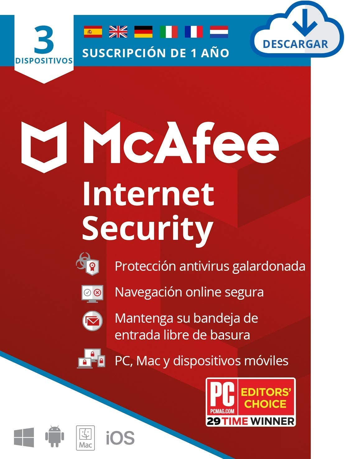 McAfee Total Protection 2020, 3 Dispositivos, 1 Año, Software Antivirus, Manager de Contraseñas, Seguridad Móvil, PC/Mac/Android/iOS, Edición Europea, Código de Descarga