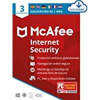 McAfee Internet Security 2020, 3 Dispositivos, 1 Año, Software Antivirus, Manager de Contraseñas, Seguridad Móvil, PC…