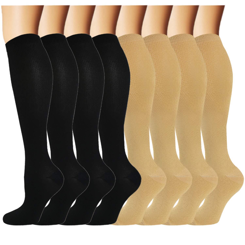 Iseasoo 8 Pack Copper Knee High Compression Socks for Men & Women-Best for Running,Athletic,Medical,Pregnancy and Travel -15-20mmHg (8 Pairs Multicoloured 7, S/M (US Women 5.5-8.5/US Men 5-9)) by Iseasoo
