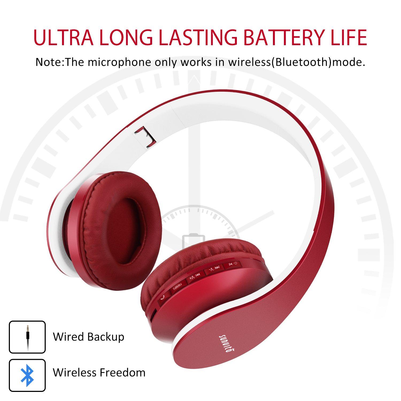 Sunvito 4 in 1 Cuffia Bluetooth Pieghevole Wireless Auricolari con Mic,Lettore MP3, Radio FM, Auricolare Collegato, Cuffie Over Ear Stereo per iPhone, Samsung,iPad,Android,Portatili,PC-Vino rosso