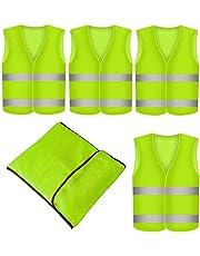 Prowiste 4 Stück Warnweste Neon Gelb Knitterfrei| Waschbar |360 Grad Reflektierende Sicherheitsweste KFZ EN471