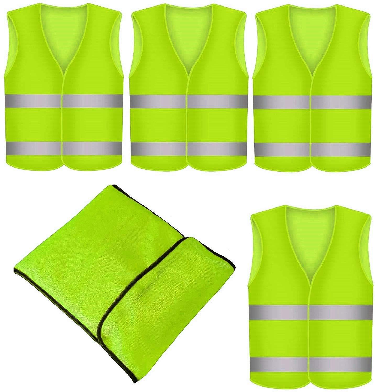 4pezzi Gilet ad alta visibilità Gilet di sicurezza giallo neon Gilet ad alta visibilità auto EN471Gilet di segnalalazione incidente Star Line® non sgualcisce, lavabile–Gilet di sicurezza con bande catarifrang
