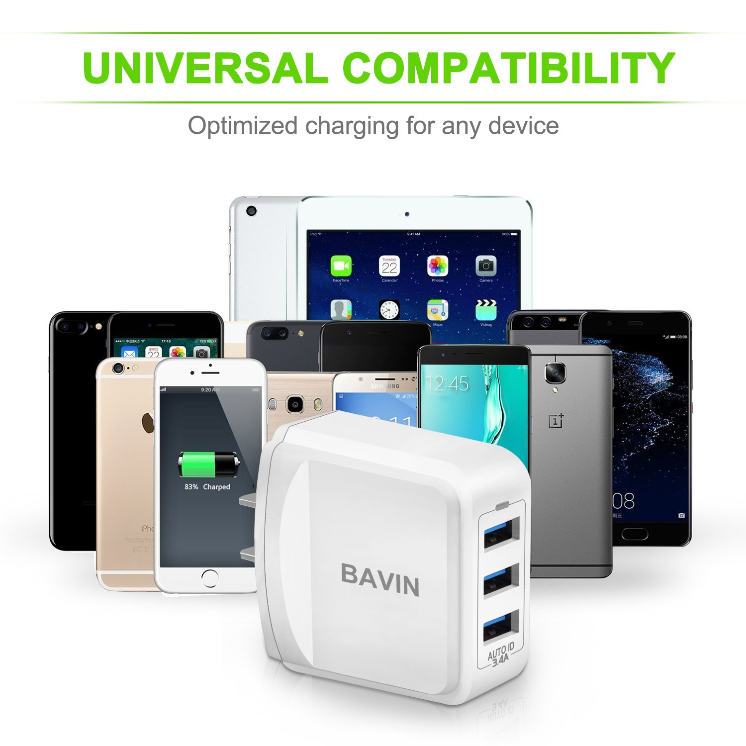 Bavin Galaxy S8 Charger 3.4A/17W Type C Travel Charger 3 Port and Type C Cable 3.3Ft for Samsung Galaxy Note 8 S8 S8 Plus,Pixel XL,Moto Z Z2,LG V30 G5 ...