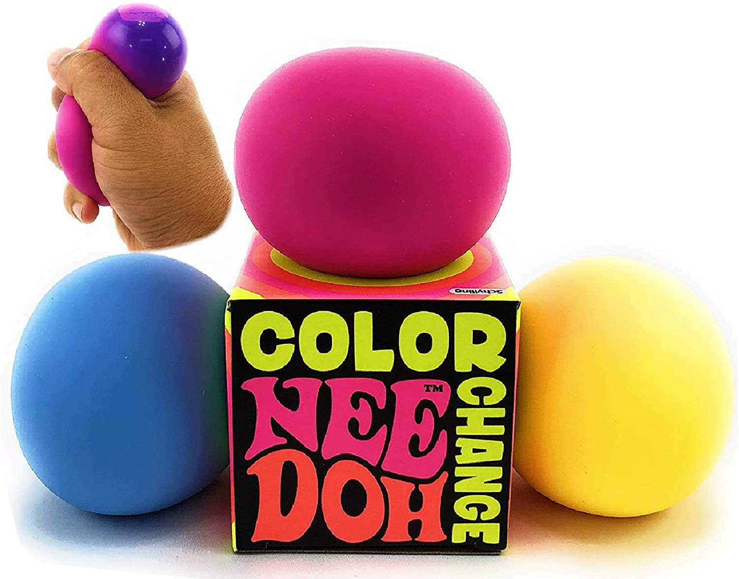 Nee Schylling Color Change Groovy Glob! Squishy, Squeezy, Stretchy Stress Balls Blue, Yellow & Pink Complete Gift Set Party Bundle - 3 Pack