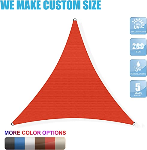 Amgo Custom Size 27 x 27 x 27 Red Triangle Sun Shade Sail ATAPT28 Canopy Awning, 95 UV Blockage, Water Air Permeable, Commercial and Residential We Customize