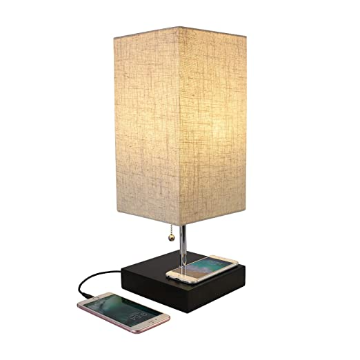 Table Lamp With Wireless Phone Charging Base Qi Wireless Charging Standard Compatible With Iphone And Samsung Galaxy