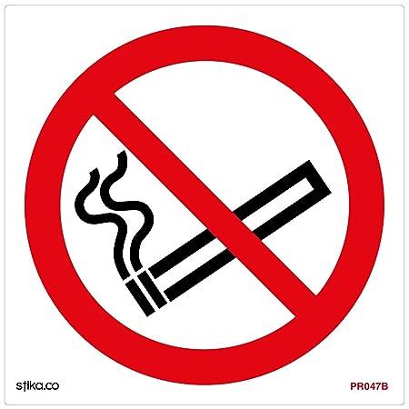 No Smoking Symbol Sign 100mm X 100mm Self Adhesive Prs08g Sa