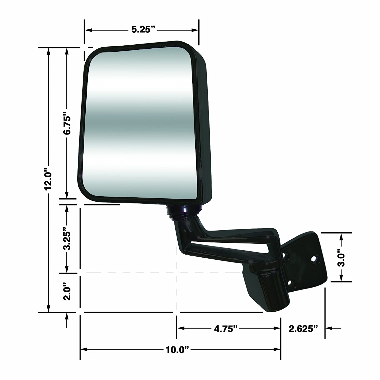 CIPA 44401 Jeep Wrangler Black Half-Door Manual Replacement Passenger Side Mirror