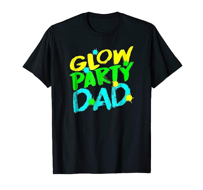 Mens Glow Party Dad T Shirt Happy Birthday 2XL Black