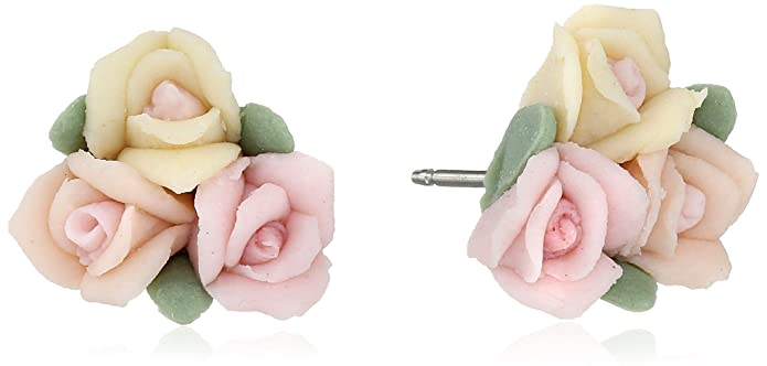 Vintage Style Jewelry, Retro Jewelry 1928 Jewelry Gold-Tone Rose Button Stud Earrings $21.00 AT vintagedancer.com