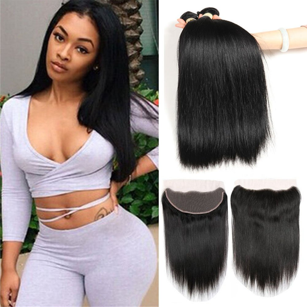 Morichy Hair 7A Malaysian Straight Hair 3 Bundles with Lace Frontal Closure(13x4) 100% Unprocessed Human Hair Extensions Bundles,Natural Color (18 20 20+14)