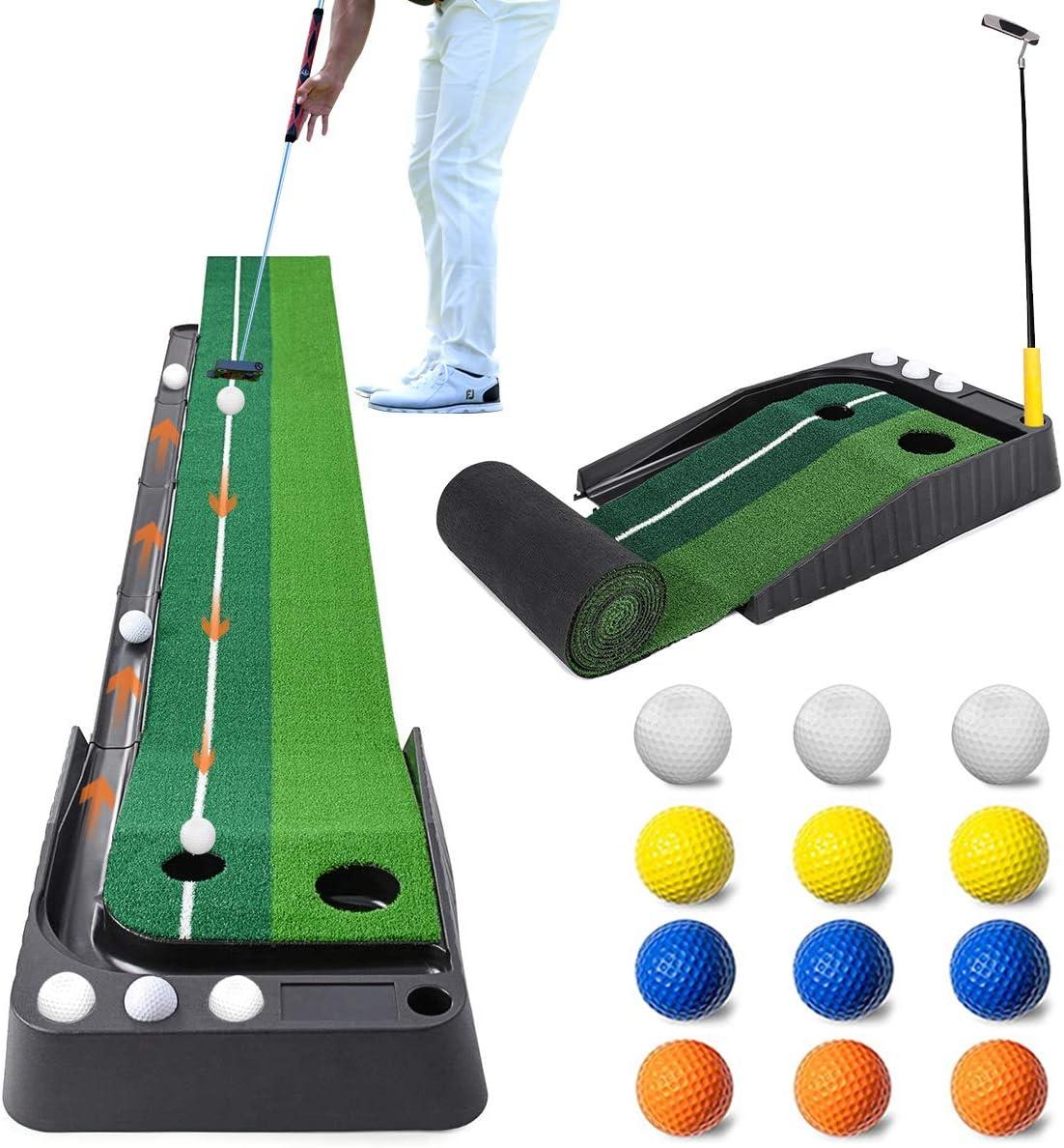 Aliennana Golf Putting Green Mat with Auto Ball Return,Golf Practice Training Aid,Extra Long 9.84Feet,Pro Indoor/Outdoor Putting Green with 12 Bonus Balls Foldable Golf Mats