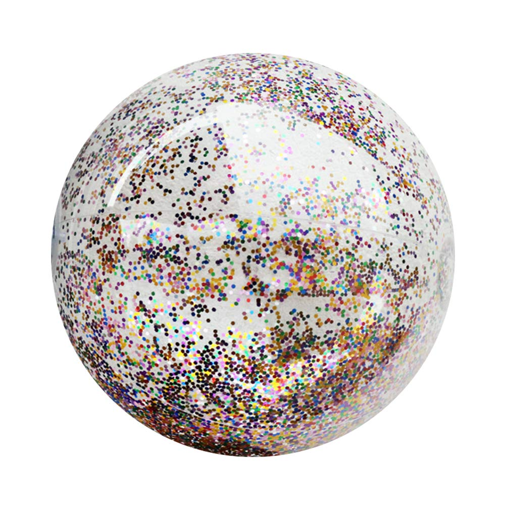 LIOOBO 14INCH Ballon Gonflable de Plage Transparent avec Paillette pour Soirée et Enfants (80g)