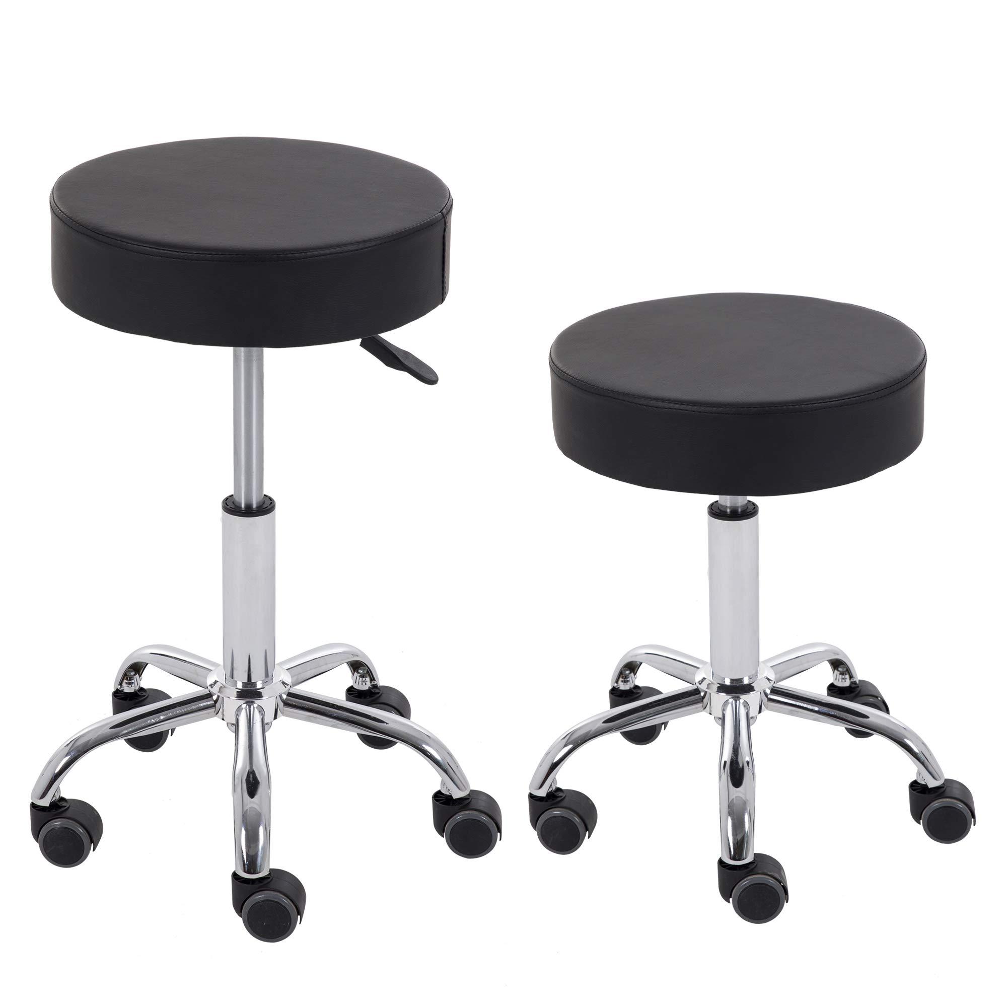 Set of 2 Adjustable Rolling Swivel Spa Salon Drafting Stool Chair PU Leather Cushion Black