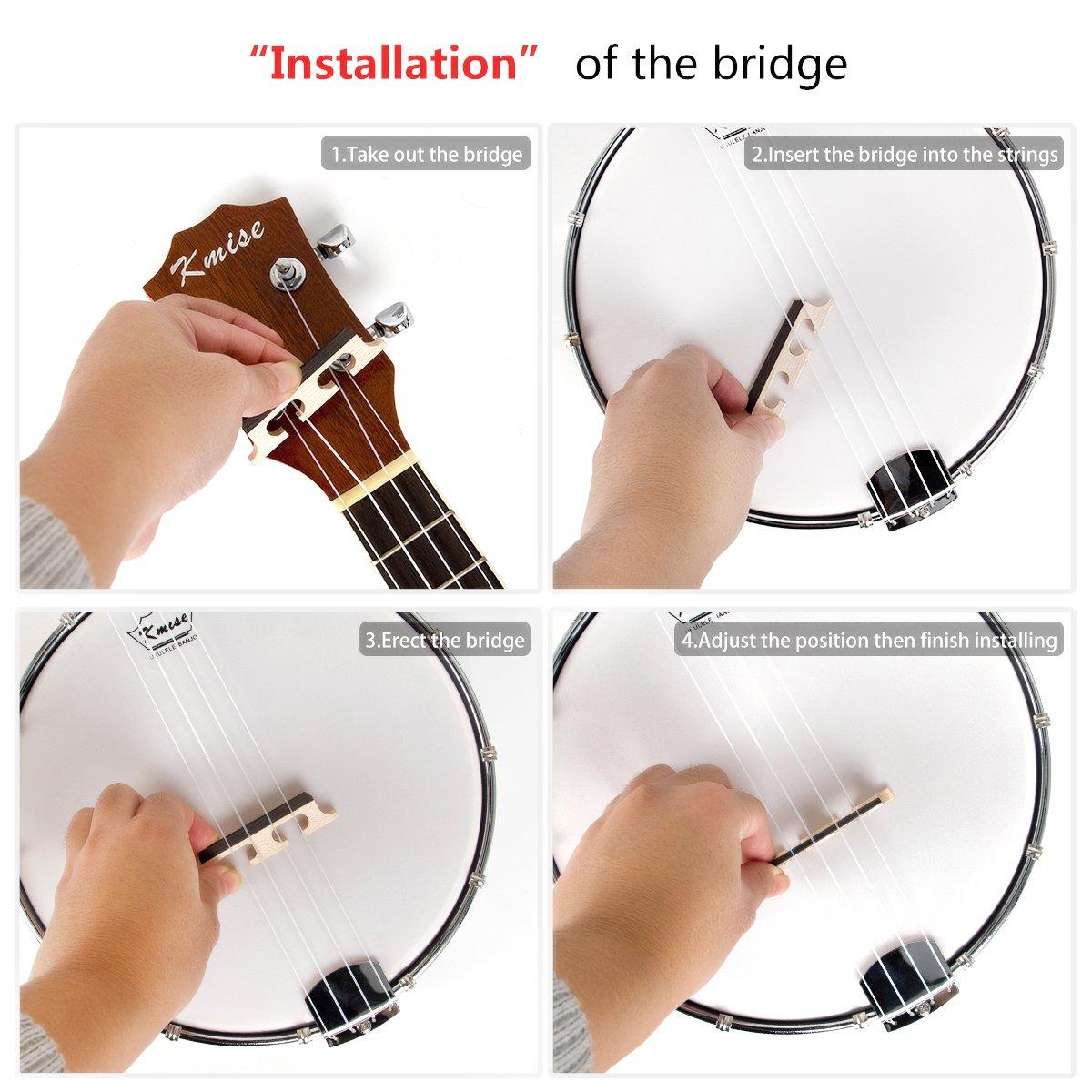 Kmise 4 String Banjo Ukulele Uke Concert 23 Inch Size Sapele With Bag Tuner by Kmise