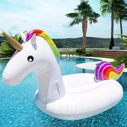 TOPIND Gigante Hinchable Piscina de Verano de Flotador de Unicornio Unicorn Rainbow niños Asiento Barco balsa