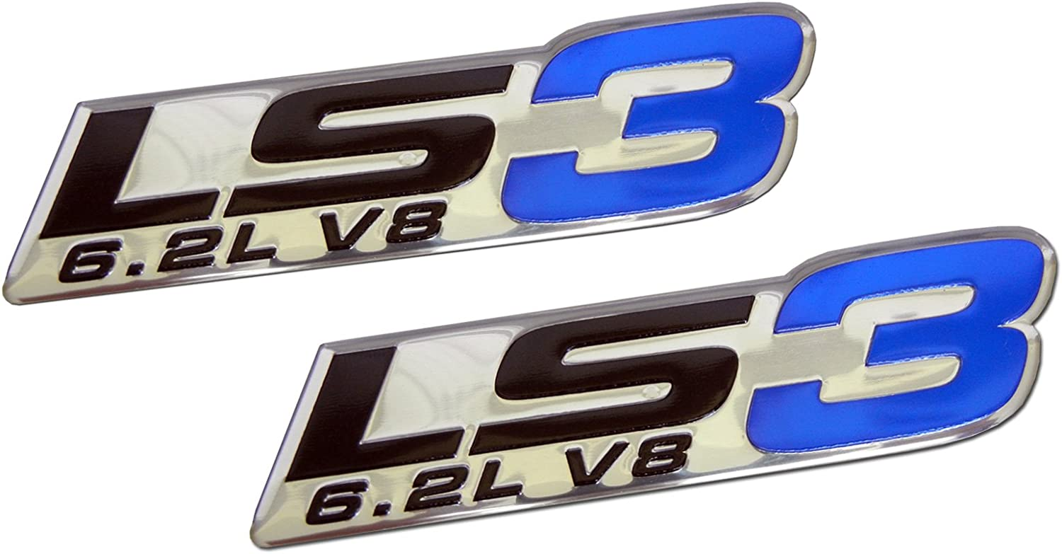 ERPART LS3 6.2L V8 Blue Engine Emblems Badges Highly Polished Aluminum Chrome Silver Compatible with GM Performance Chevy Corvette C6 ZR1 Camaro SS RS Pontiac G8 GXP Holden Vauxhall VXR8 (Pack of 2)