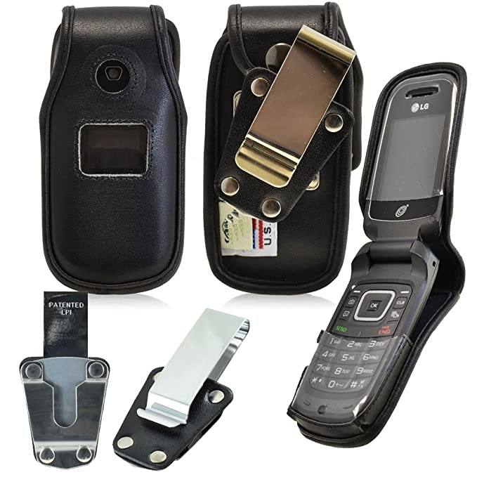 super popular 18d85 6d1ac Amazon.com: Genuine Leather Fitted Case for LG b470 flip phone ...