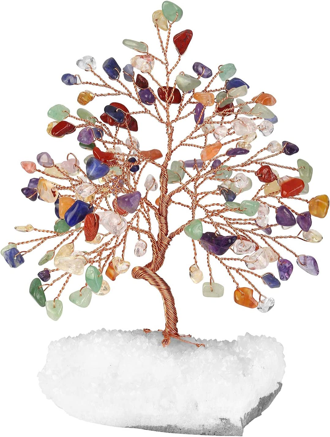 Jovivi Natural 7 Chakra Healing Crystals Money Tree on Clear Quartz Cluster Base for Protection Healing Home Table Decoration for Wealth and Luck 5.5