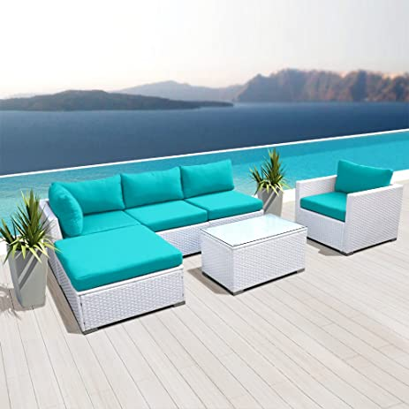 Superieur NEW Modenzi L6D U Outdoor Sectional Patio Furniture White Wicker Sofa Set  (Turquoise)