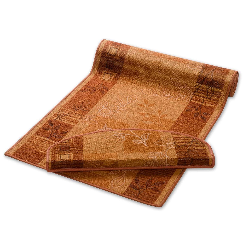 Casa pura Teppich Läufer Terra mit Pflanzenmusterung   Qualitätsprodukt aus Deutschland   Gut Siegel   Kombinierbar mit Stufenmatten   3 Breiten und 27 Längen (100 x 350cm)