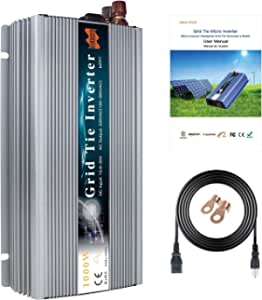 Marsrock 1000W Grid Tie Inverter, 20-50V DC to AC 120V/220V Pure Sine Wave Inverter for 1000-1200W 24V, 30V, 36V PV Module or Wind Turbine (AC120V Silver) (Renewed)