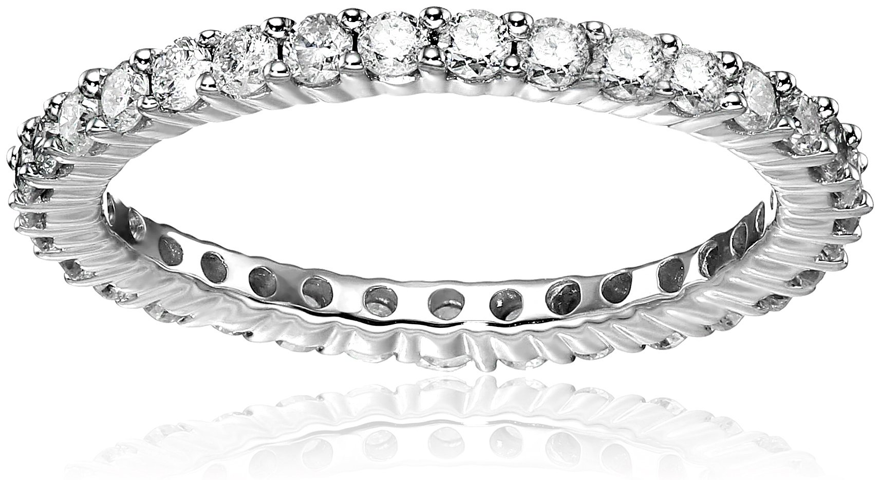14k White Gold Eternity Ring (1cttw, H-I Color, I2-I3 Clarity), Size 7
