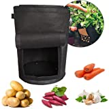 2-Pack 10 Gallon Potato Grow Bags Plant Container Aeration Fabric Pots With Access Flap and Handles, Heavy Duty Thickened Non-woven for Planting Vegetables, Taro, Radish, Carrots, Onions (Black)
