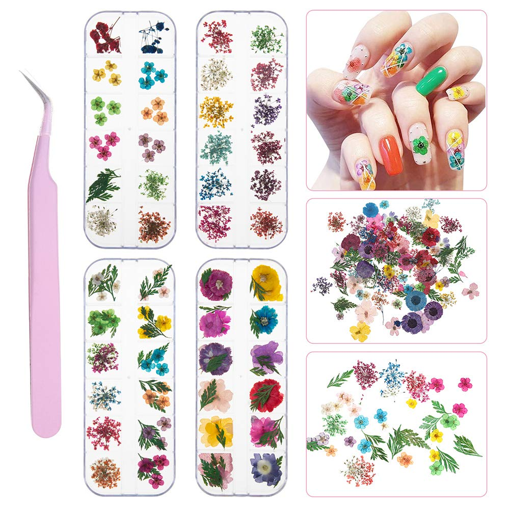 4 Boxes Nail Dried Flowers, Bosixty 48 Colors 3d Dried Flowers Nail Art, Real Natural Flowers Nail Art Supplies for DIY Crafts Nails Decorations Nail Salon Nail Decals Nail Design by Bosixty