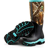 "TideWe Hunting Boot for Women, Insulated Waterproof Durable 15"" Women's Hunting Boot, 6mm Neoprene and Rubber Outdoor Boot Realtree Edge Camo"