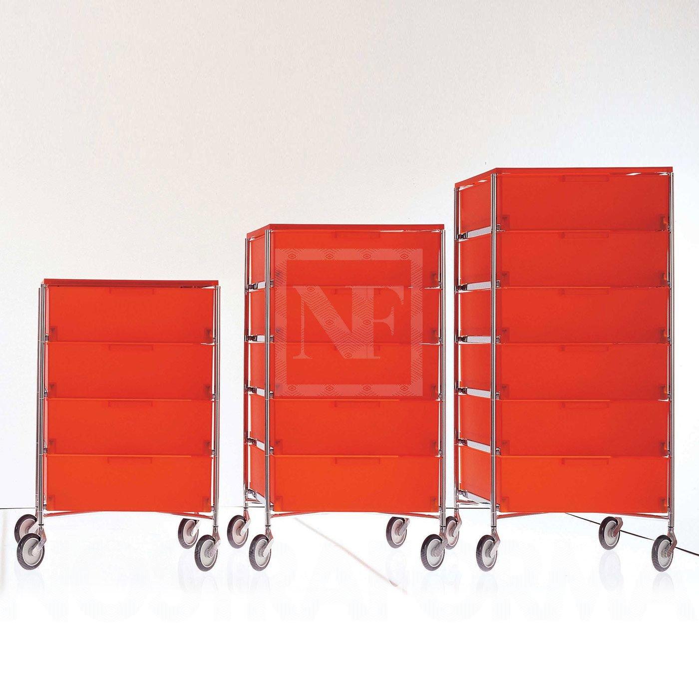 Kartell 2034L1 Container Mobil, 5 Schubladen, eisfarben