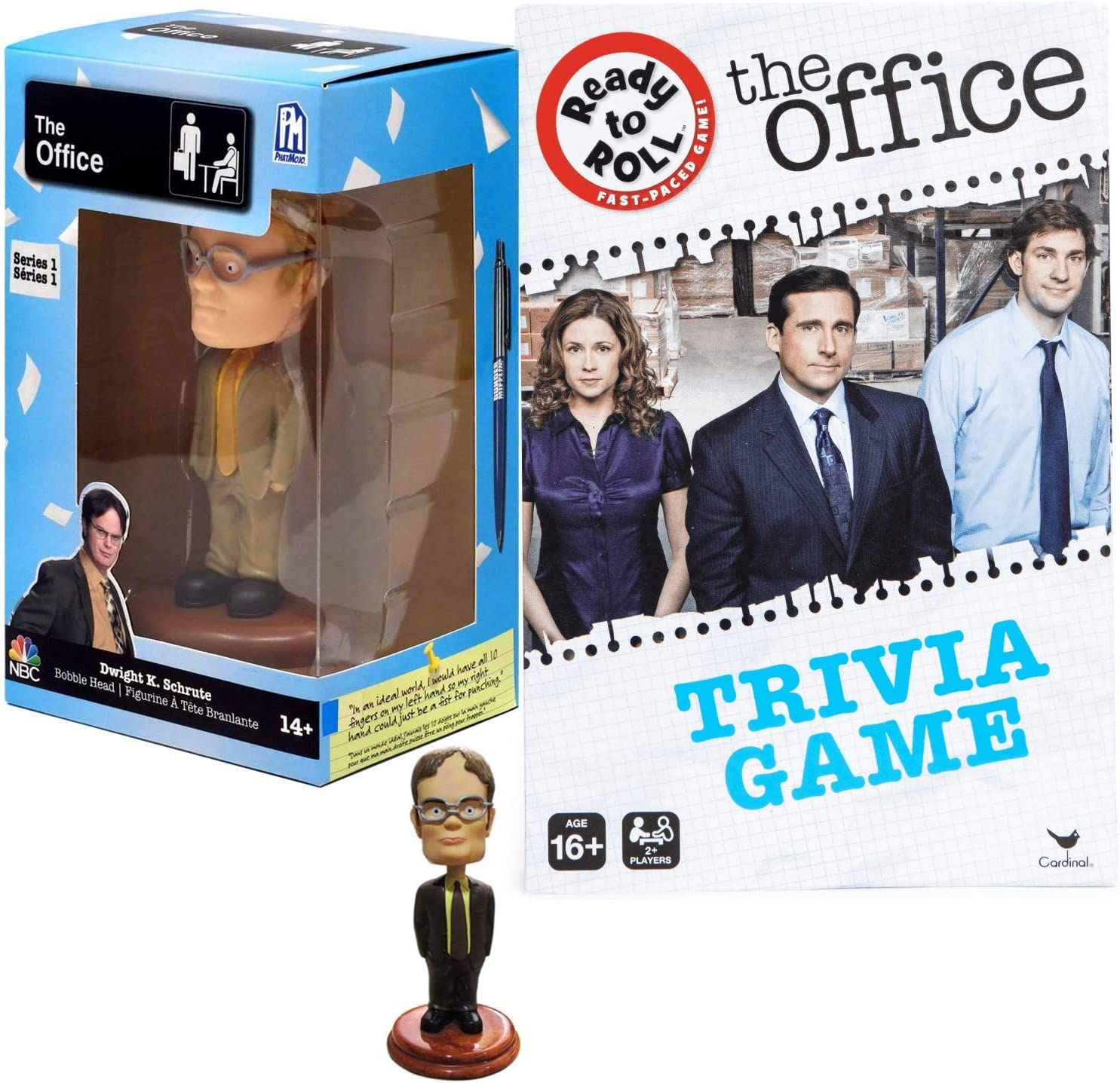 Dwight Figure Assistant Regional Manager Collectible Bundled with NBC Dunder-Mifflin Bobblehead + The Office Series Trivia Game 2 Items