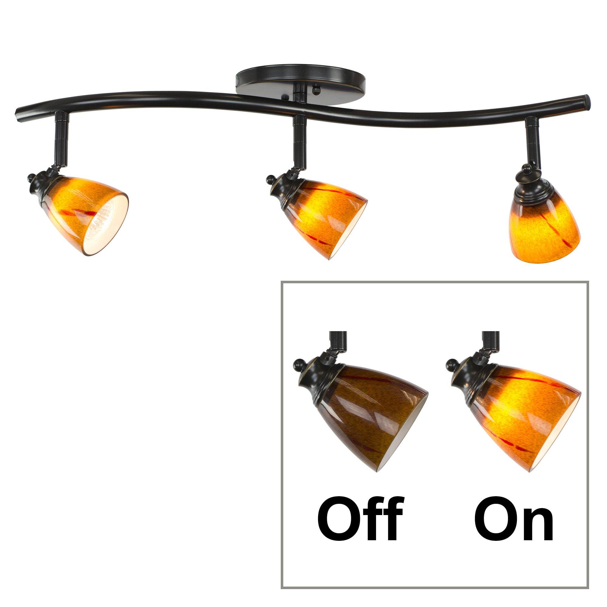Direct-Lighting 3 Lights Adjustable Track Lighting Kit - Dark Bronze Finish - Amber Glass Track Heads - GU10 Bulbs Included. D268-23C-DB-AMS
