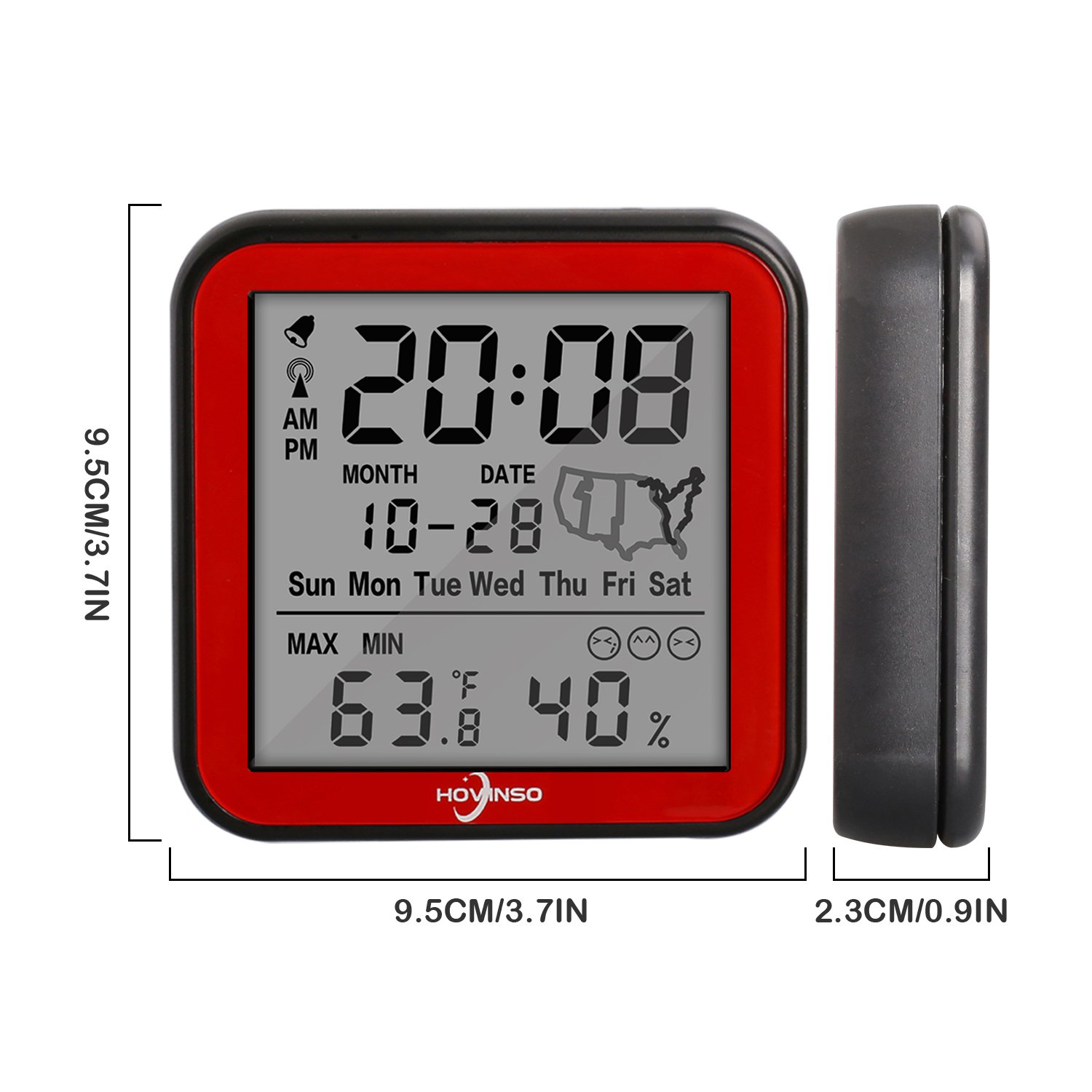 Hovinso Weather Station Clock with Temperature and Humidity Monitor, Indoor Wireless Radio Atomic Alarm Clock for Home Bedroom by Hovinso (Image #6)