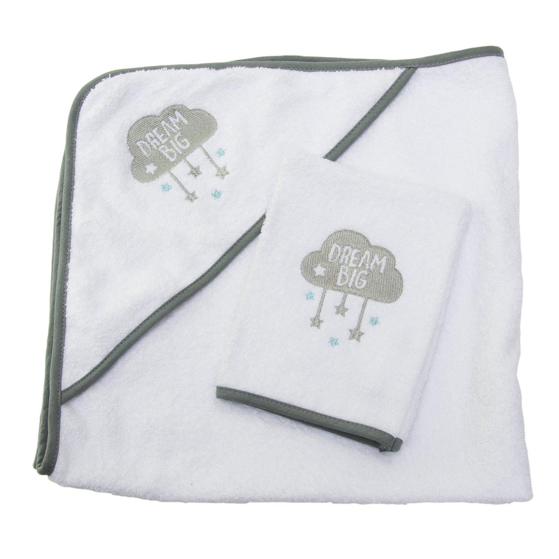 Kleinkinder Neugeborene 100 /% Bio-Baumwolle 75 x 75 cm Wei/ß mit Kapuze f/ür Babys Sensio Baby-Kapuzenhandtuch Kleinkinder extra weich und saugf/ähig