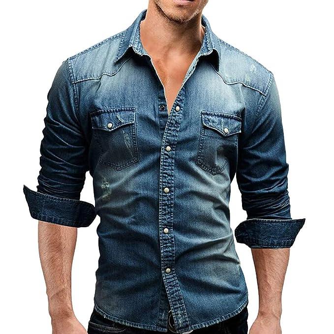 1b03060e7a Camisa Vaquera Hombre Manga Larga Camisas Casual de Moda Pecho Bolsillo con  Botones Long Sleeves Shirt Tops para Hombre  Amazon.es  Ropa y accesorios